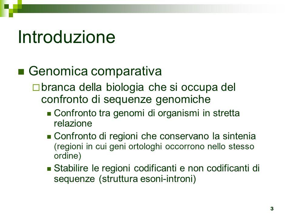 Introduzione Genomica comparativa