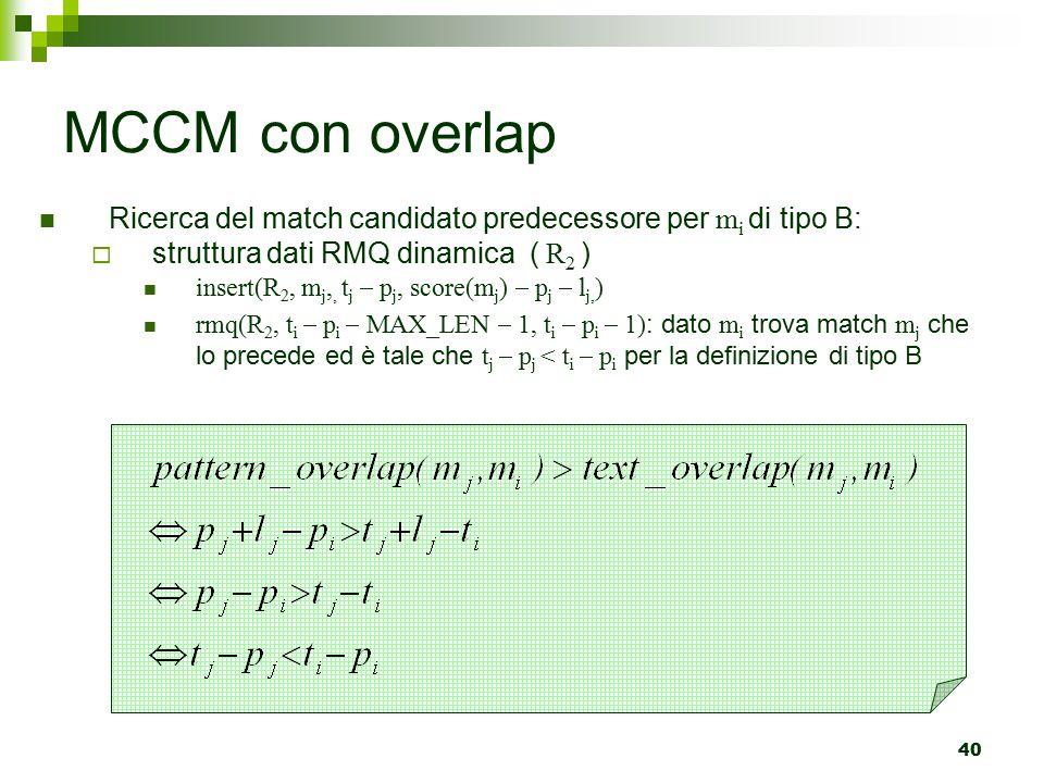 MCCM con overlap Ricerca del match candidato predecessore per mi di tipo B: struttura dati RMQ dinamica ( R2 )