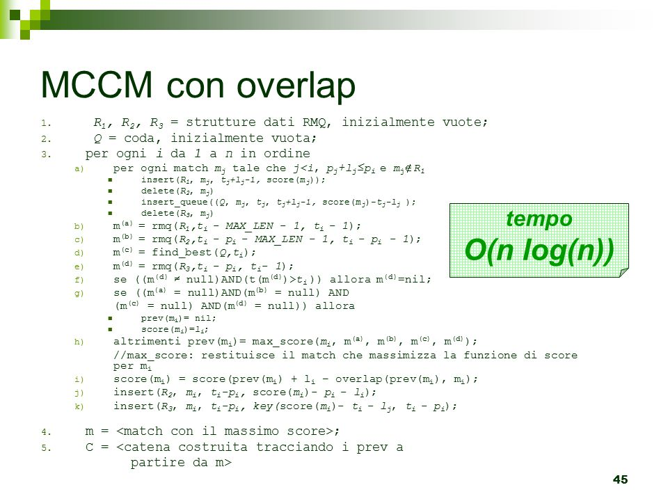 MCCM con overlap O(n log(n)) tempo