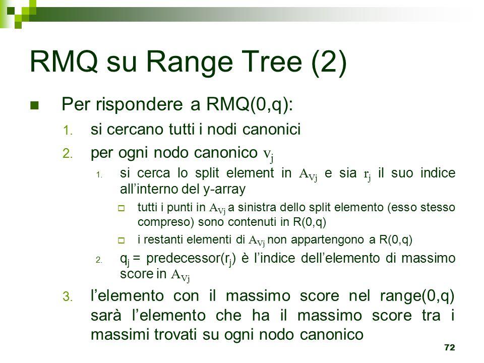 RMQ su Range Tree (2) Per rispondere a RMQ(0,q):