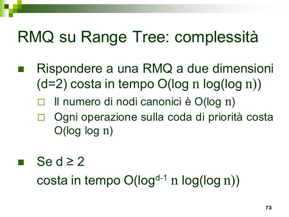 RMQ su Range Tree: complessità