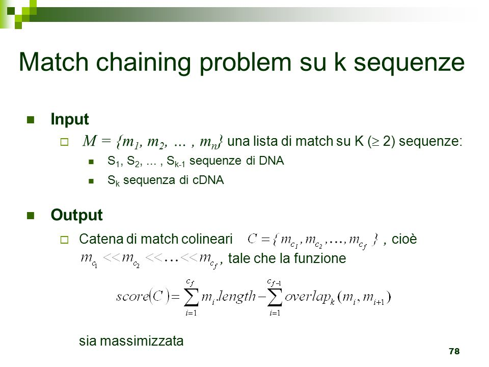Match chaining problem su k sequenze