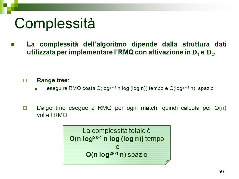 Complessità La complessità dell'algoritmo dipende dalla struttura dati utilizzata per implementare l'RMQ con attivazione in D1 e D2.