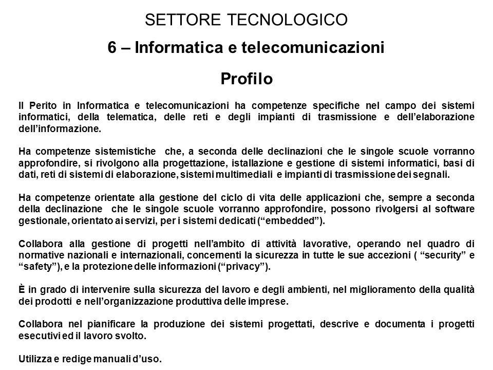 6 – Informatica e telecomunicazioni