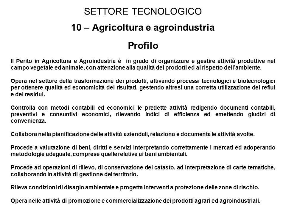 10 – Agricoltura e agroindustria