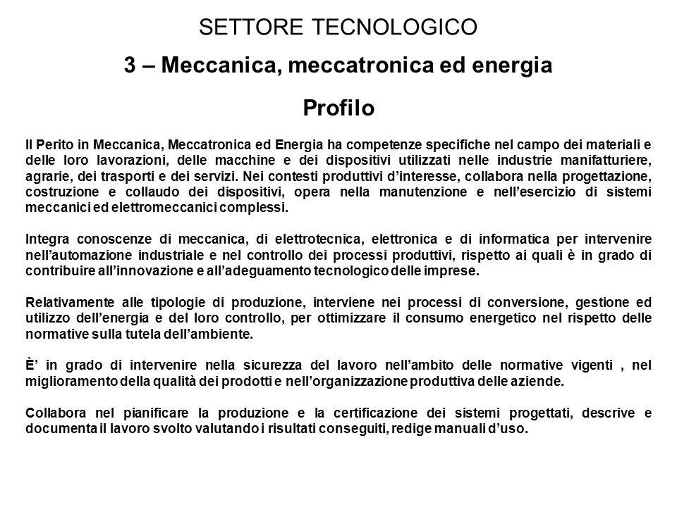 3 – Meccanica, meccatronica ed energia