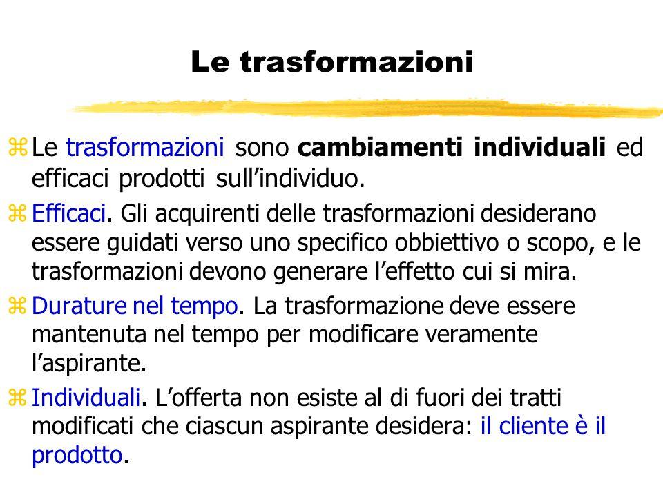 Le trasformazioni Le trasformazioni sono cambiamenti individuali ed efficaci prodotti sull'individuo.