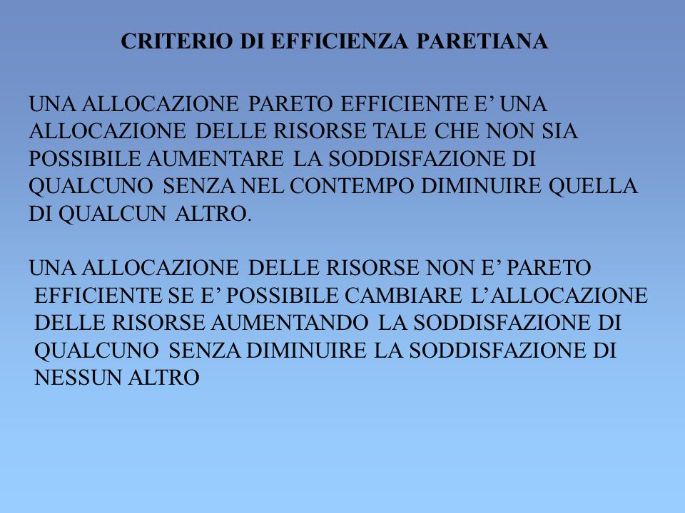 CRITERIO DI EFFICIENZA PARETIANA
