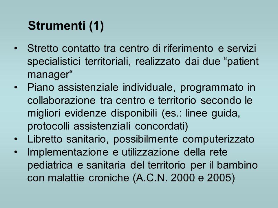 Strumenti (1) Stretto contatto tra centro di riferimento e servizi specialistici territoriali, realizzato dai due patient manager