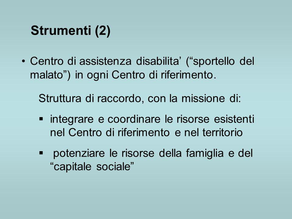 Strumenti (2) Centro di assistenza disabilita' ( sportello del malato ) in ogni Centro di riferimento.