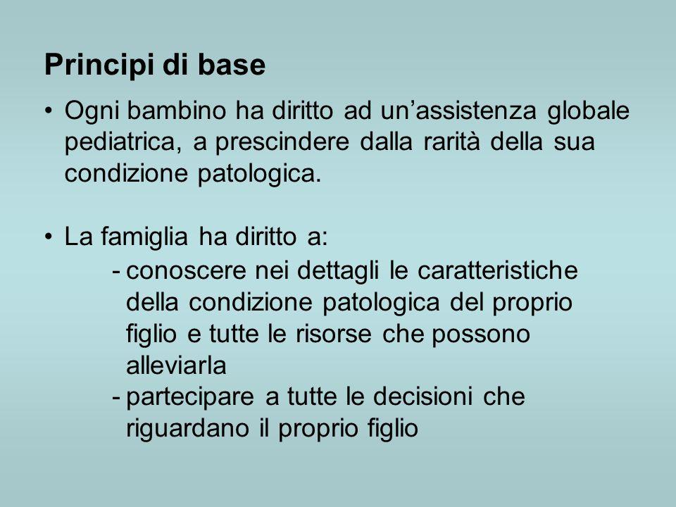 Principi di base Ogni bambino ha diritto ad un'assistenza globale pediatrica, a prescindere dalla rarità della sua condizione patologica.