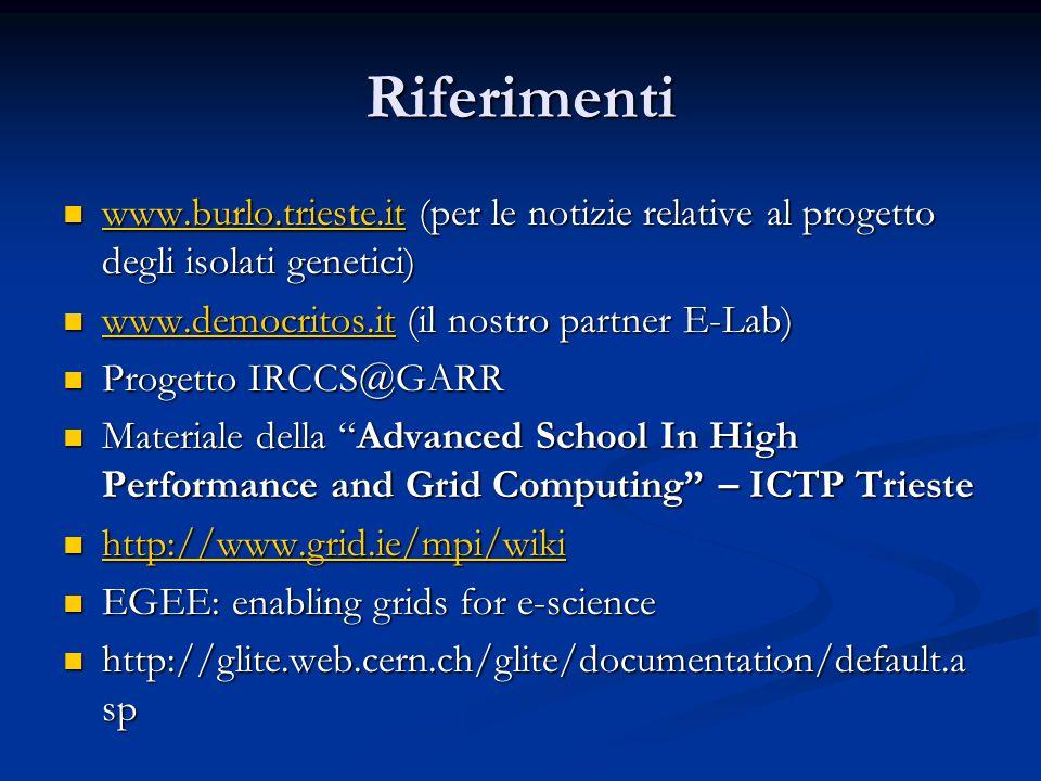 Riferimenti www.burlo.trieste.it (per le notizie relative al progetto degli isolati genetici) www.democritos.it (il nostro partner E-Lab)