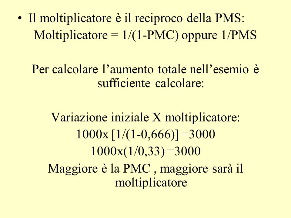 Il moltiplicatore è il reciproco della PMS: