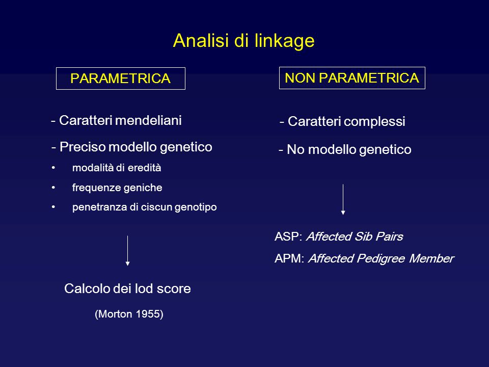 Analisi di linkage PARAMETRICA NON PARAMETRICA - Caratteri mendeliani