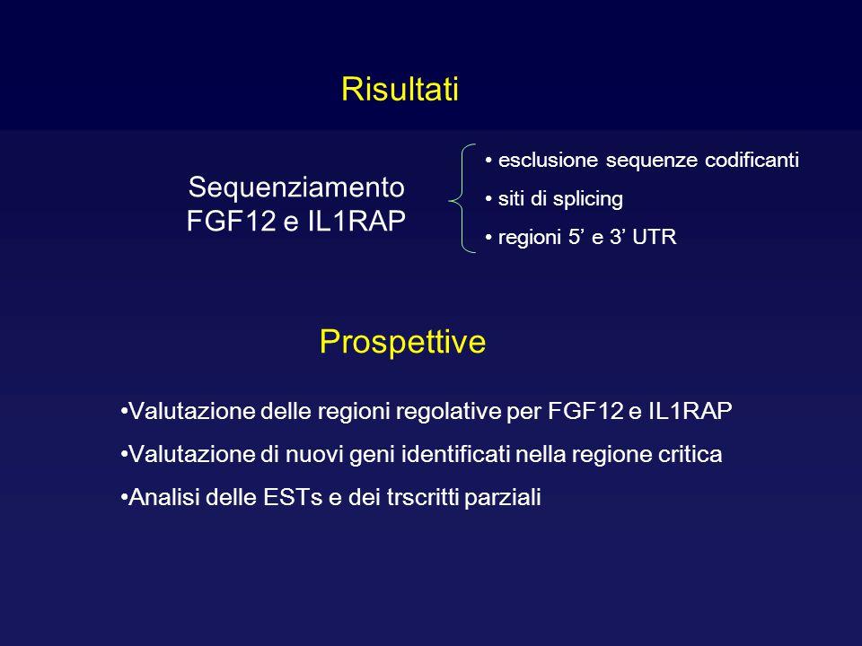 Sequenziamento FGF12 e IL1RAP