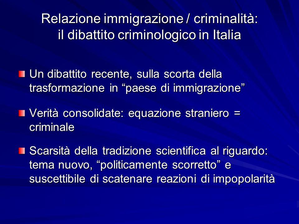 Relazione immigrazione / criminalità: il dibattito criminologico in Italia
