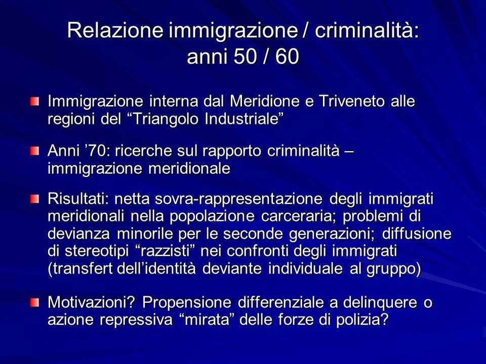 Relazione immigrazione / criminalità: anni 50 / 60