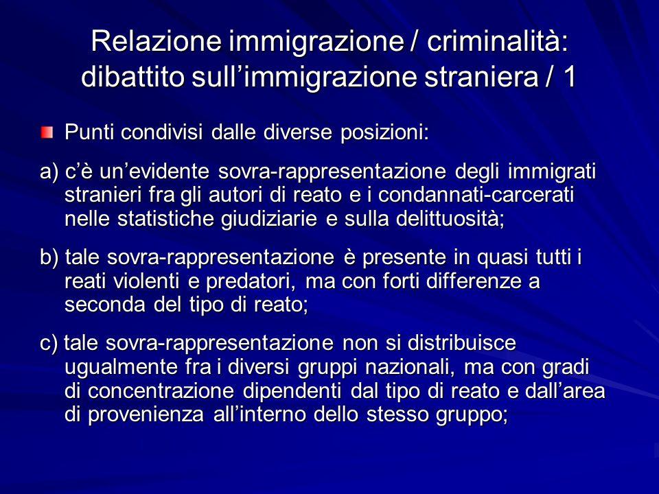 Relazione immigrazione / criminalità: dibattito sull'immigrazione straniera / 1