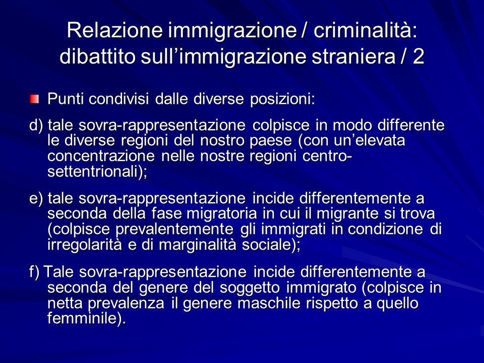 Relazione immigrazione / criminalità: dibattito sull'immigrazione straniera / 2