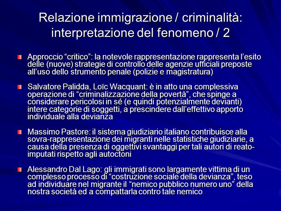 Relazione immigrazione / criminalità: interpretazione del fenomeno / 2