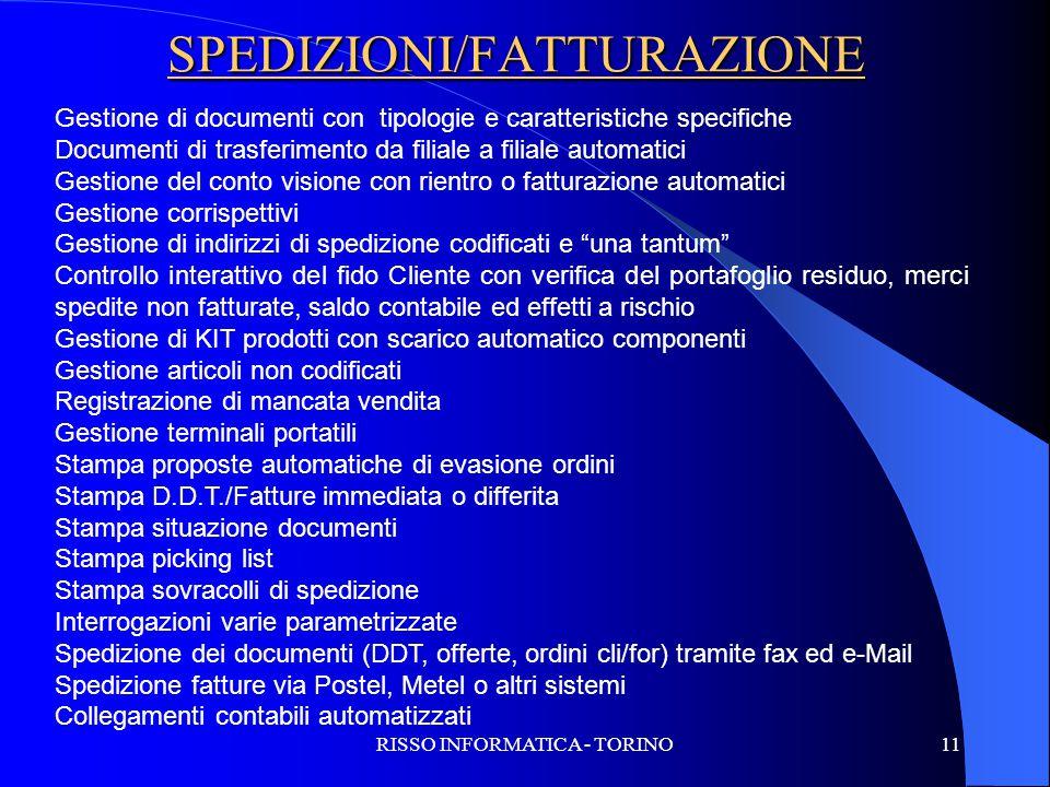 SPEDIZIONI/FATTURAZIONE