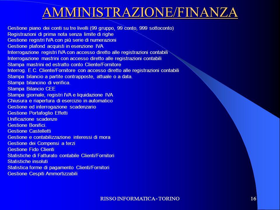 AMMINISTRAZIONE/FINANZA