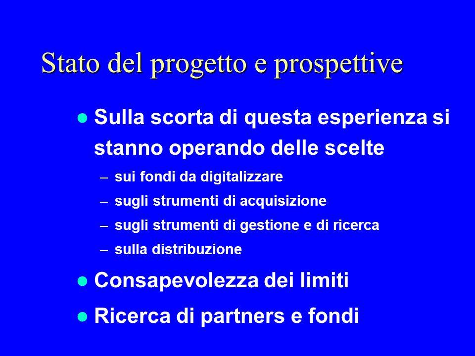 Stato del progetto e prospettive