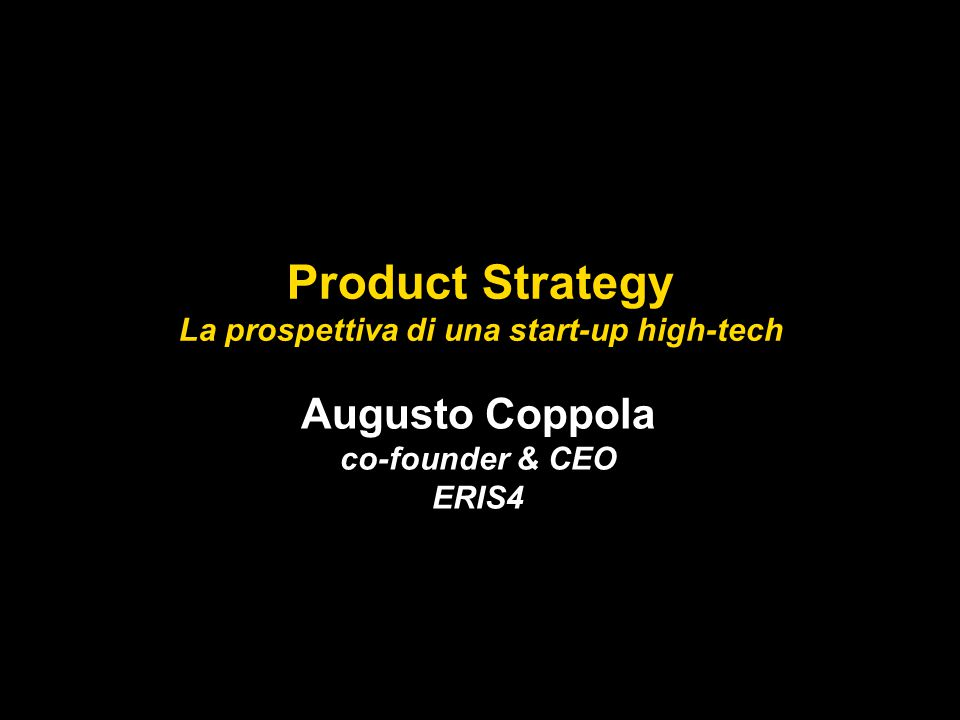 La prospettiva di una start-up high-tech