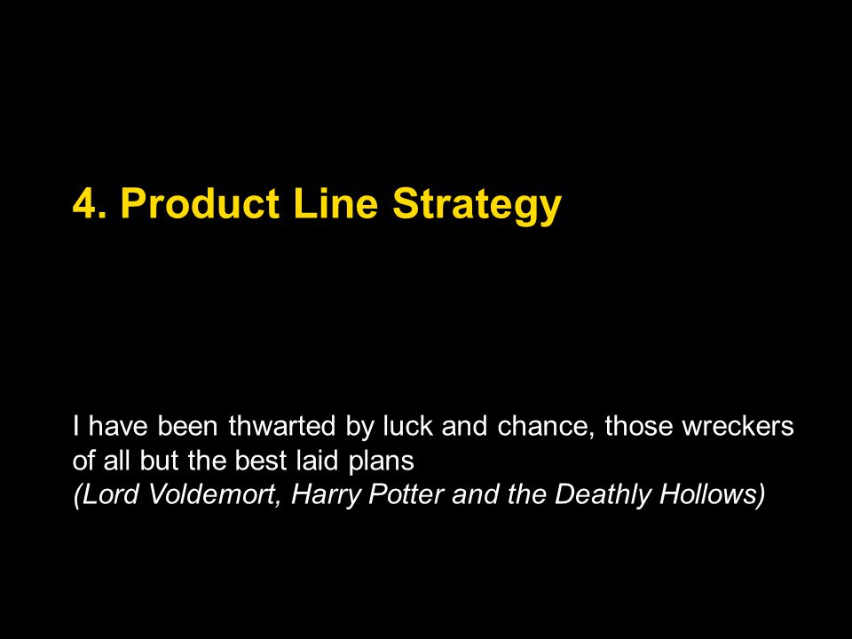 4. Product Line Strategy I have been thwarted by luck and chance, those wreckers of all but the best laid plans.