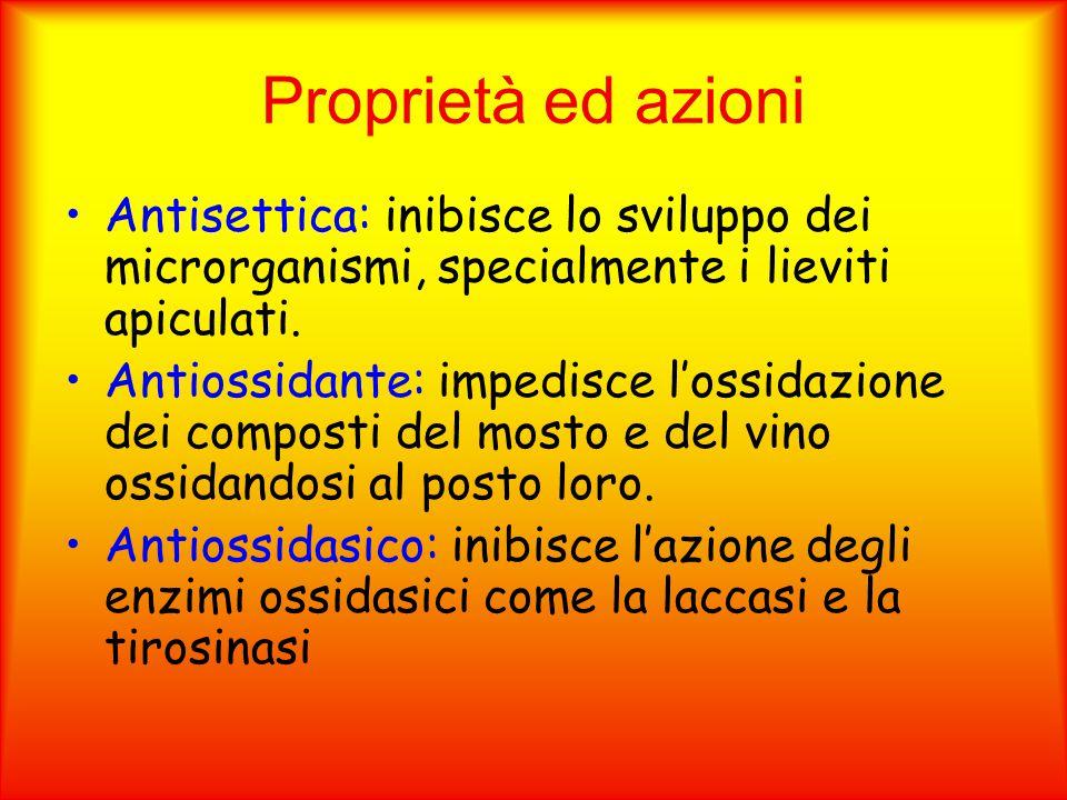 Proprietà ed azioni Antisettica: inibisce lo sviluppo dei microrganismi, specialmente i lieviti apiculati.
