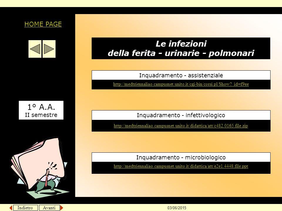 Le infezioni della ferita - urinarie - polmonari