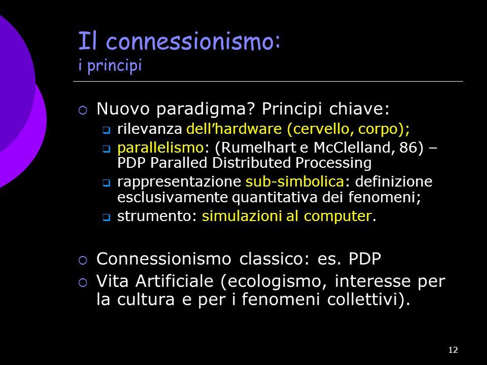Il connessionismo: i principi