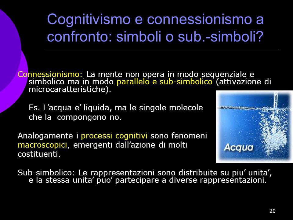 Cognitivismo e connessionismo a confronto: simboli o sub.-simboli