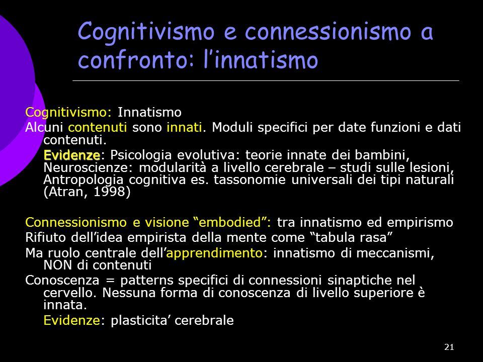 Cognitivismo e connessionismo a confronto: l'innatismo