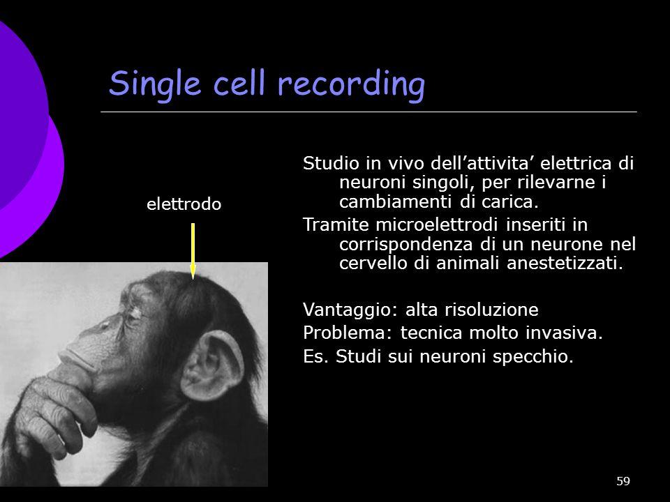 Single cell recording Studio in vivo dell'attivita' elettrica di neuroni singoli, per rilevarne i cambiamenti di carica.