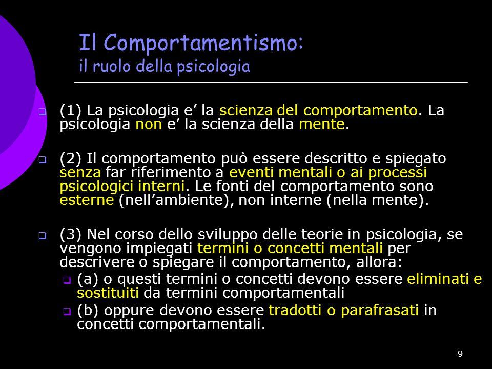 Il Comportamentismo: il ruolo della psicologia