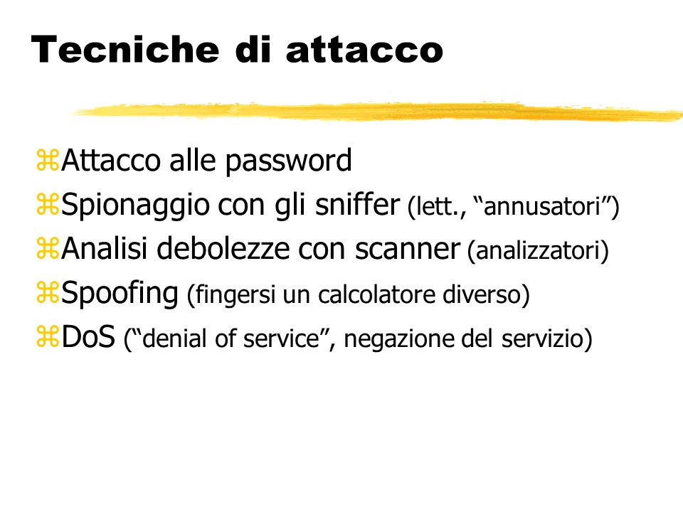 Tecniche di attacco Attacco alle password