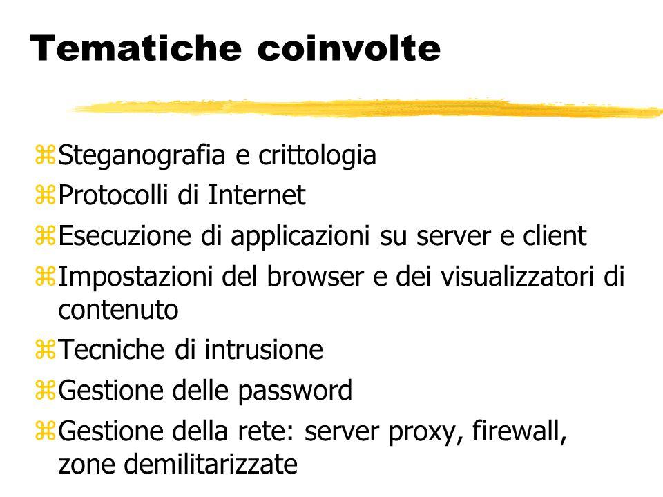 Tematiche coinvolte Steganografia e crittologia Protocolli di Internet