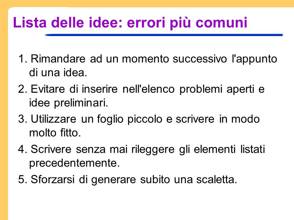 Lista delle idee: errori più comuni