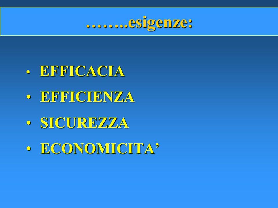 ……..esigenze: EFFICACIA EFFICIENZA SICUREZZA ECONOMICITA'