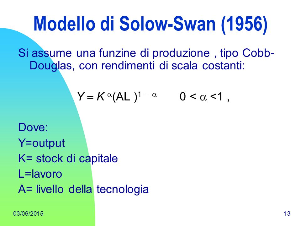 Modello di Solow-Swan (1956)