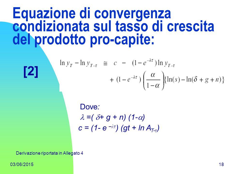 Equazione di convergenza condizionata sul tasso di crescita del prodotto pro-capite: