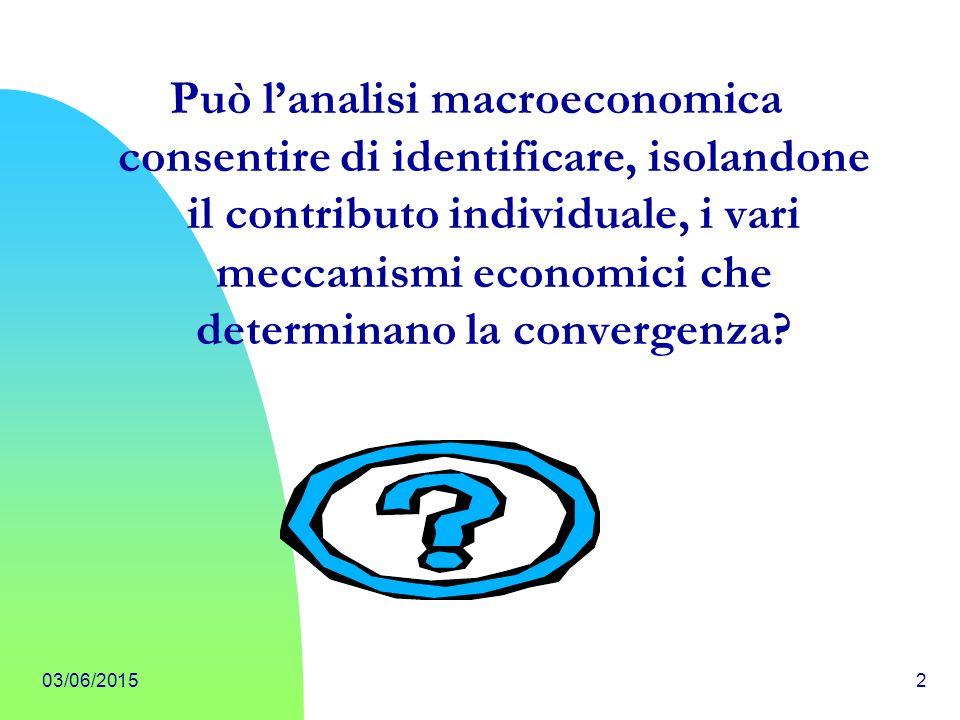 Può l'analisi macroeconomica consentire di identificare, isolandone il contributo individuale, i vari meccanismi economici che determinano la convergenza