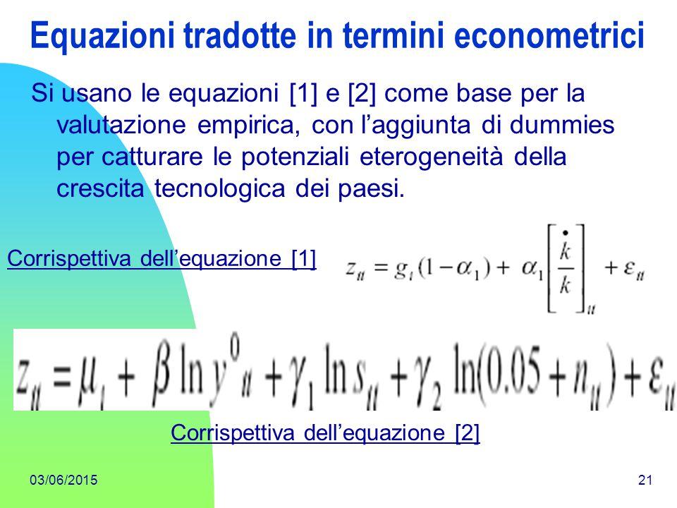 Equazioni tradotte in termini econometrici