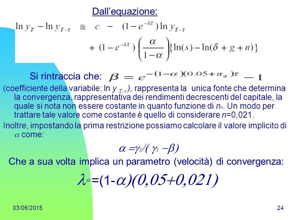 la =(1-a)(0,05+0,021) Dall'equazione: Si rintraccia che: