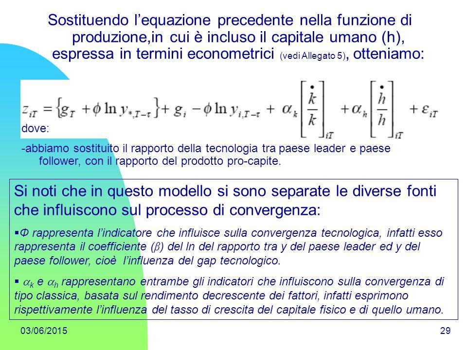 Sostituendo l'equazione precedente nella funzione di produzione,in cui è incluso il capitale umano (h), espressa in termini econometrici (vedi Allegato 5), otteniamo:
