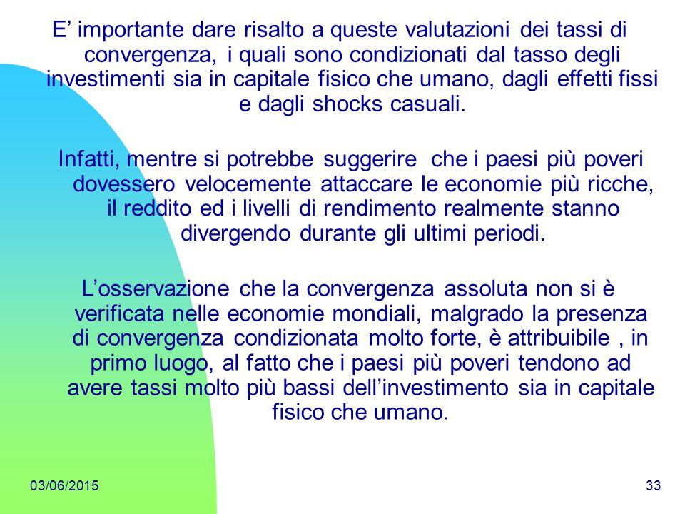 E' importante dare risalto a queste valutazioni dei tassi di convergenza, i quali sono condizionati dal tasso degli investimenti sia in capitale fisico che umano, dagli effetti fissi e dagli shocks casuali.