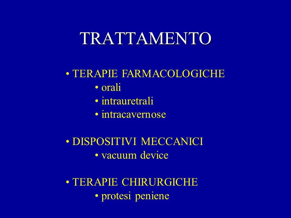 TRATTAMENTO TERAPIE FARMACOLOGICHE orali intrauretrali intracavernose