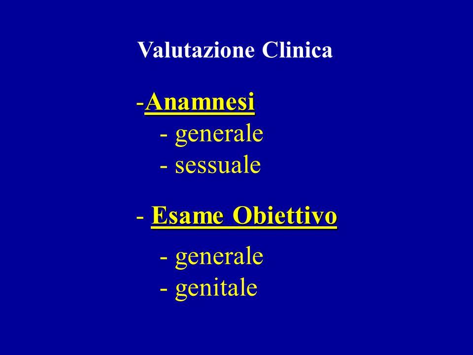 Anamnesi generale sessuale Esame Obiettivo genitale