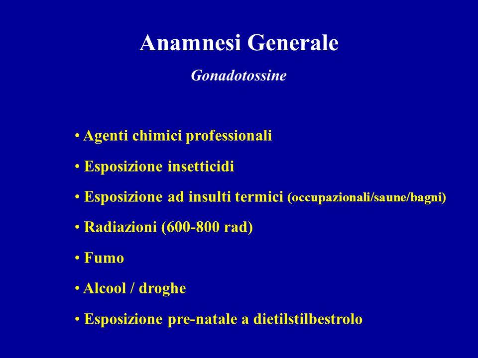 Anamnesi Generale Gonadotossine Agenti chimici professionali